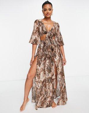 Ярусная пляжная юбка макси от комплекта с размытым звериным принтом -Multi ASOS DESIGN