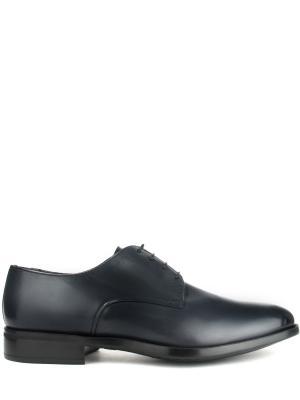 Кожаные туфли-дерби MORESCHI. Цвет: синий