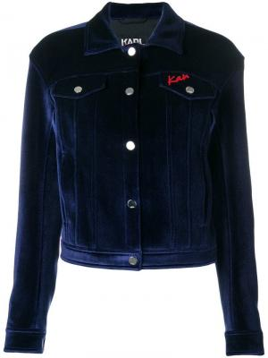 Бархатная джинсовая куртка Karl X Kaia Lagerfeld. Цвет: синий
