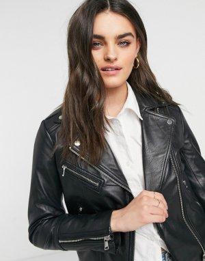 Кожаная байкерская куртка черного цвета Lab Leather-Черный цвет LEATHER