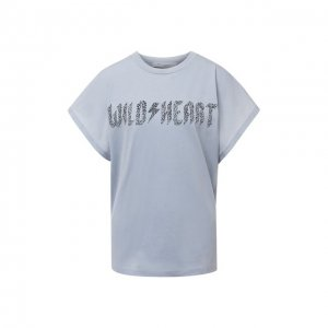 Хлопковая футболка Iro. Цвет: голубой