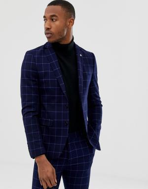 Темно-синий однобортный приталенный пиджак в клетку Avail London