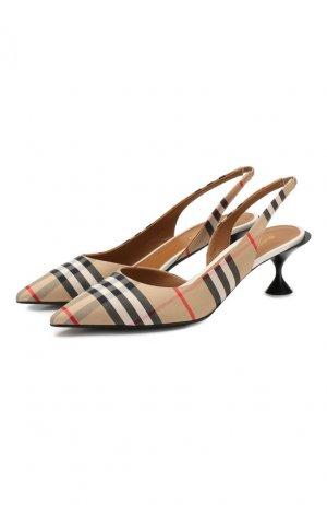 Текстильные туфли Burberry. Цвет: бежевый