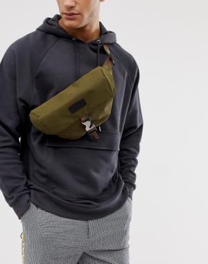 Сумка-кошелек на пояс с камуфляжным принтом Consigned. Цвет: зеленый
