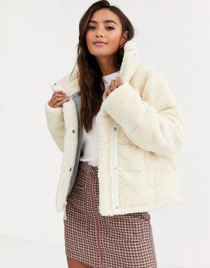 Кремовая куртка-пуховик -Кремовый Abercrombie & Fitch