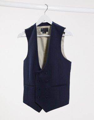 Темно-синий супероблегающий жилет с добавлением шерсти и узором в елочку Wedding ASOS DESIGN