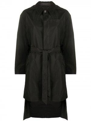 Пальто с капюшоном и поясом Undercover. Цвет: черный
