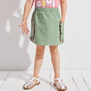 Юбка с заплатками для девочек SHEIN. Цвет: зеленый лайм