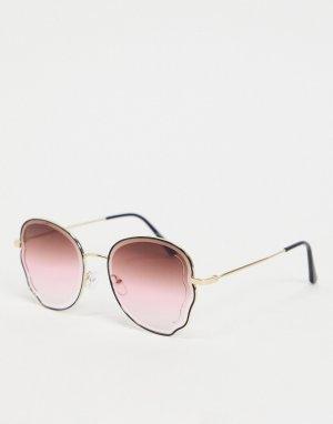 Женские круглые солнцезащитные очки в розовой оправе -Розовый цвет Jeepers Peepers