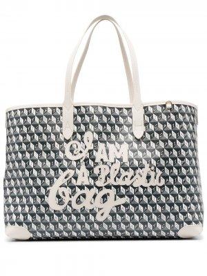 Сумка-тоут I Am A Plastic Bag Anya Hindmarch. Цвет: серый