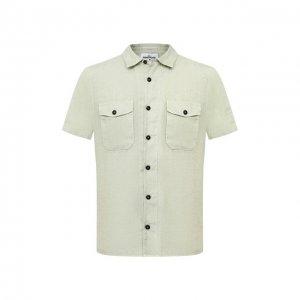 Льняная рубашка Stone Island. Цвет: зелёный