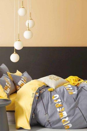 Постельное белье Евро 70x70 Jardin. Цвет: серый, желтый