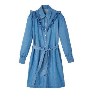 Платье-рубашка La Redoute. Цвет: синий