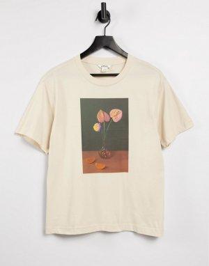 Бежевая футболка из органического хлопка с принтом вазы Tovi-Нейтральный Monki