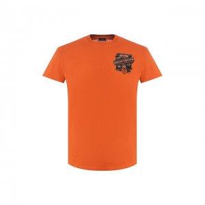 Хлопковая футболка Exclusive for Moscow Harley-Davidson. Цвет: оранжевый