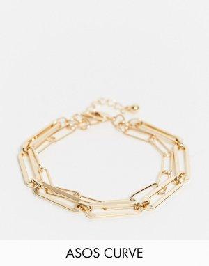 Золотистый ярусный браслет-цепочка Curve-Золотой ASOS DESIGN