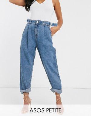 Суженные книзу синие джинсы бойфренда с D-образной пряжкой ASOS DESIGN Petite-Синий Petite