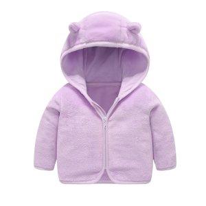Для девочек 3D Пальто заплатка с капюшоном фланелевый SHEIN. Цвет: сиреневый фиолетовый