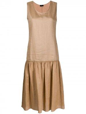 Платье миди Nolen со складками Joseph. Цвет: коричневый