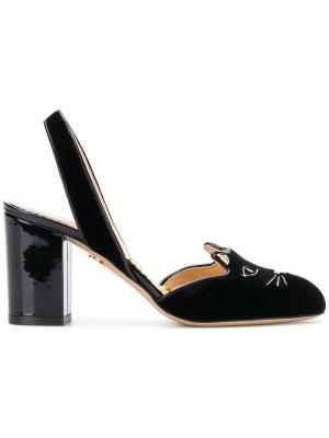 Туфли-лодочки с декором в виде кота Charlotte Olympia. Цвет: черный