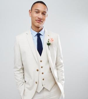 Приталенный пиджак из ткани с добавлением льна Farah wedding эксклюзивно на ASOS-Neutral Smart