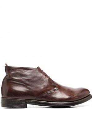 Ботинки дезерты на шнуровке с жатым эффектом Officine Creative. Цвет: коричневый
