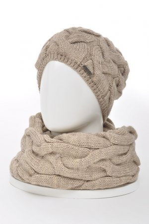 Комплект: шапка, снуд, варежки JAGGA. Цвет: кофейный