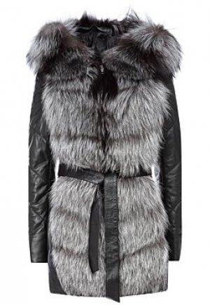 Утепленная кожаная куртка с отделкой мехом чернобурки Снежная Королева