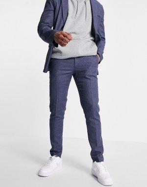 Темно-синие классические брюки облегающего кроя из мягкой ткани с добавлением льна -Темно-синий ASOS DESIGN