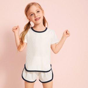 Вязаный спортивный костюм с контрастной отделкой для девочек SHEIN. Цвет: белый