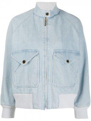 Джинсовая куртка-бомбер Alberta Ferretti. Цвет: синий