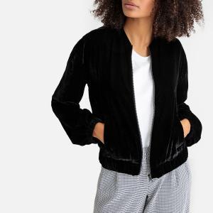Куртка-бомбер из велюра на молнии, прямой покрой LA REDOUTE COLLECTIONS. Цвет: черный