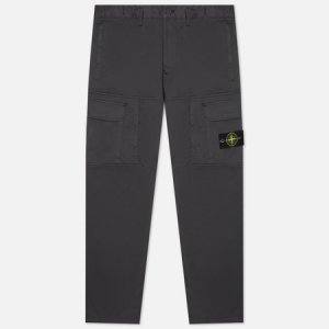 Мужские брюки Stretch Cotton Wool Satin Loose Fit Stone Island. Цвет: серый