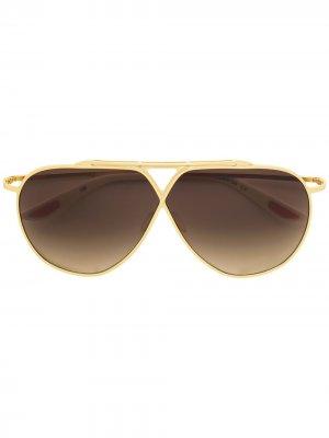 Солнцезащитные очки-авиаторы с затемненными линзами Christian Roth. Цвет: золотистый