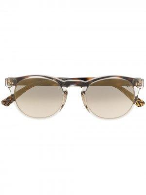 Солнцезащитные очки Trastevere в круглой оправе Etnia Barcelona. Цвет: коричневый