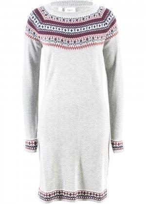 Платье вязаное bonprix. Цвет: серый