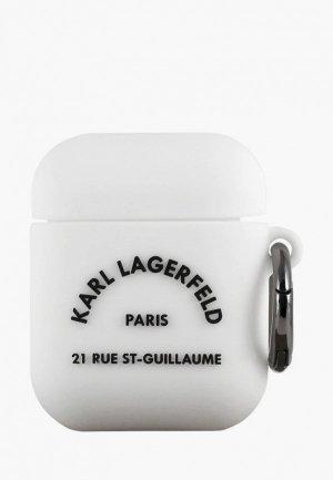 Чехол для наушников Karl Lagerfeld Airpods, Silicone case with ring RSG logo White. Цвет: белый