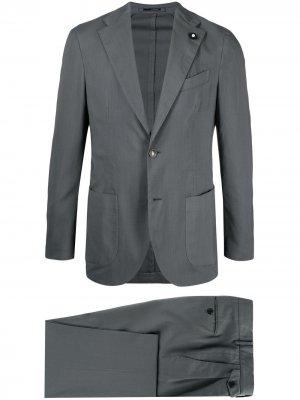 Строгий костюм с однобортным пиджаком Lardini. Цвет: серый