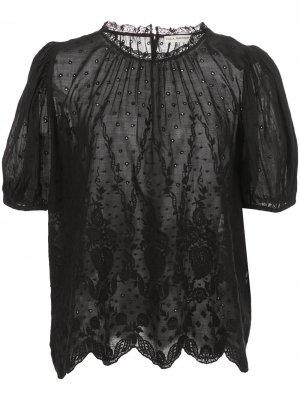 Блузка Emmie с вышивкой и объемными рукавами Ulla Johnson. Цвет: черный