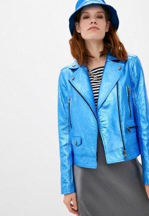 Куртка кожаная Karl Lagerfeld. Цвет: синий
