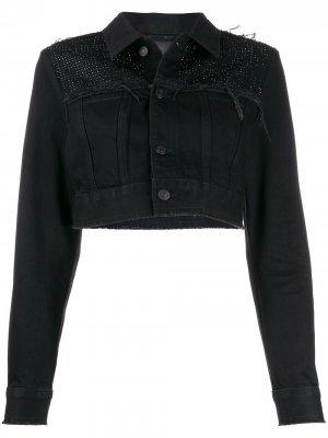 Декорированная укороченная джинсовая куртка Diesel. Цвет: черный
