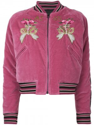 Куртка-бомбер с цветочной вышивкой As65. Цвет: розовый
