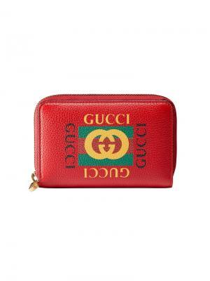 Визитница с принтом логотипа Gucci. Цвет: красный