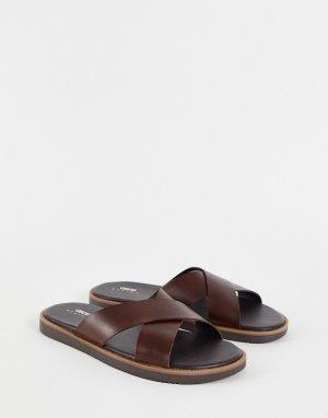 Коричневые кожаные сандалии с перекрестными ремешками -Коричневый цвет ASOS DESIGN
