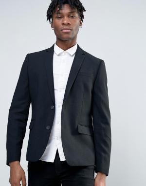 Узкий пиджак с добавлением шерсти -Черный Minimum