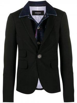 Двухслойная джинсовая куртка Dsquared2. Цвет: черный