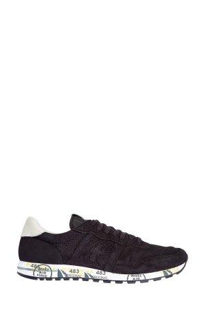 Монохромные замшевые кроссовки Eric с перфорацией PREMIATA. Цвет: черный