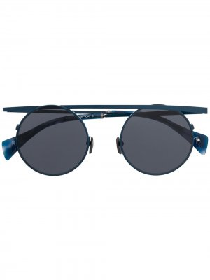 Солнцезащитные очки-авиаторы Yohji Yamamoto. Цвет: синий