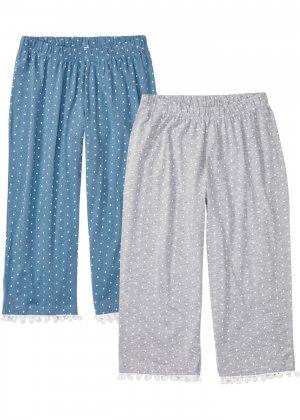 Брюки капри пижамные (2 шт.) bonprix. Цвет: серый