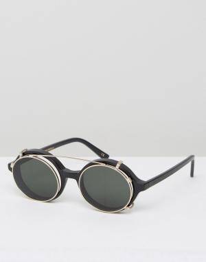 Круглые солнцезащитные очки в черной оправе Han Kjobenhavn. Цвет: черный